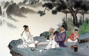 ancient chinese men playing a board game