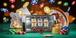 poker chips and roulette wheel coming out of smartphone