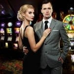 dressed up couple in a casino room