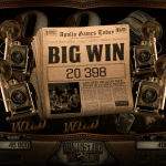 a 'big win' sign in vintage newspaper