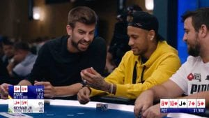 neymar jr (right) and gerard pique (left) playing poker