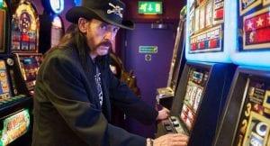 lemmy playing slot machine, music stars who were into gambling