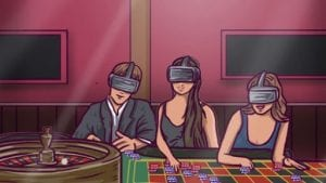 a man and two women wearing a vr headset in a casino room
